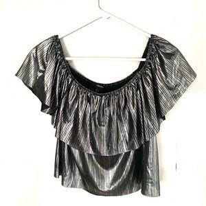 FOREVER 21 metallic Grey off the shoulder blouse-L
